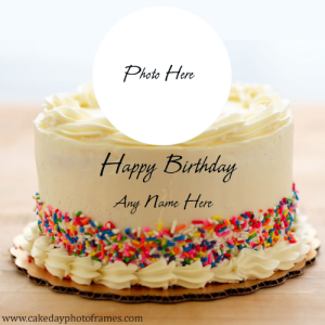 Happy birthday creamy cake with name and photo