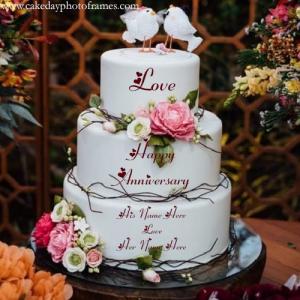 Love birds happy anniversary couple name cake