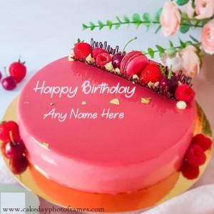 Happy birthday red velvet cake image with name