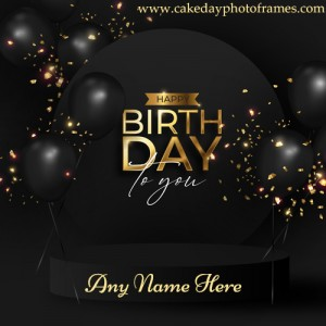 Happy Birthday Black Greetings Card with Name Editor