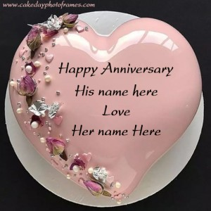 Pink heart shared Anniversary chocolate Cake with Couple Name