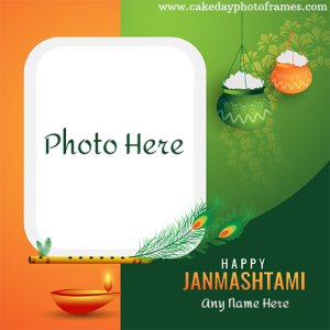 Happy janmashtami indian flage 3 colour card with name and photo