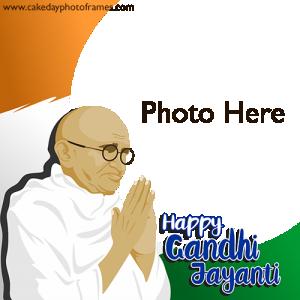 Happy gandhi jayanti image card with photo