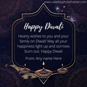 Happy Diwali Greetings card with Name online editor