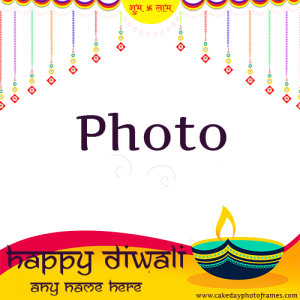 Happy Diwali wishing card with name and photo frame online
