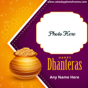 happy dhanteras card with name and photo download