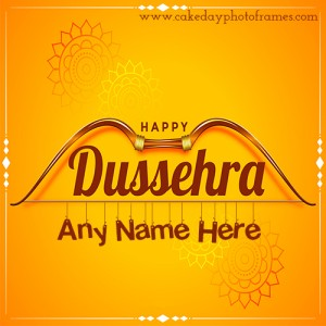 Happy Dussehra greetings cards with name online free Editor