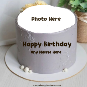 Create Sliver happy Birthday Cake With name and photo Edit