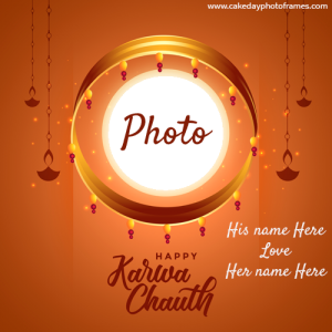Happy karwa chauth moon card with couple name and photo