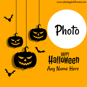 Happy halloween greeting card with name and photo