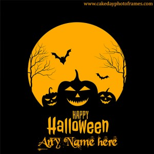 Happy halloween horror card with name edit