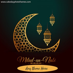 Eid Milad in nabi wish card with name editor